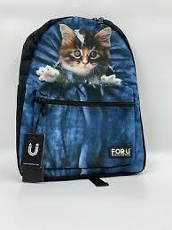 CAT PACKPACK <b>FORU DESIGNS</b> CUTE <b>BACKPACK Black</b>/Blue ...