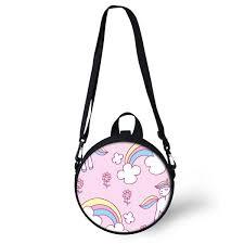 <b>ELVISWORDS Round</b> Shoulder Bag <b>Women</b> Rainbow Unicorn ...