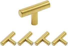 Goldentimehardware 5Pack Gold <b>Cabinet Handles</b> Single Hole <b>T</b> ...