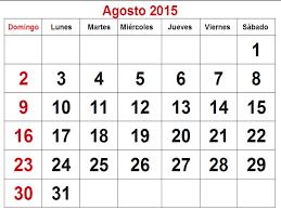 Resultado de imagem para calendário agosto 2015