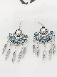 <b>Women's</b> Statement Earrings <b>Ethnic Style</b> Fringes Embossed ...