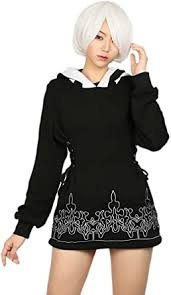 <b>2B</b> Black Cotton Hoodie Cosplay <b>Costume</b> Sweatshirt Zip Jacket ...