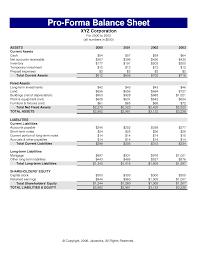 professional balance sheet   pro forma balance sheet  proforma    proforma balance sheet template