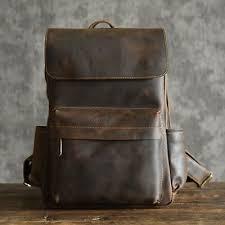 Designer <b>Natural Cow Leather</b> Large <b>Men's</b> Backpack Retro Laptop ...