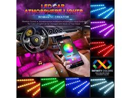 ESTONE Car LED Light <b>Strip</b> App Bluetooth Control 4pcs 48 LED ...