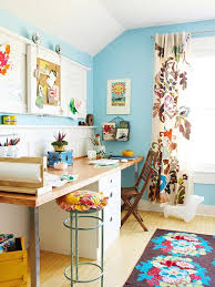 home office with bright blue walls bright home office design