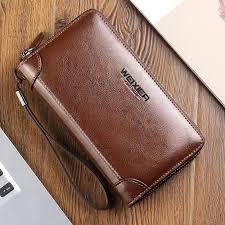 <b>WEIXIER</b> Oil Wax Leather Men Wallets <b>Fashion</b> Clutch Bags Vintage ...