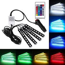 <b>Led Car</b> Lights Interior,<b>Car LED</b> Strip Light 4pcs DC 12V Multi-color ...