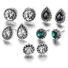 Buy Shining Diva <b>Fashion 5 Pairs</b> Combo Stylish Oxidized Silver ...