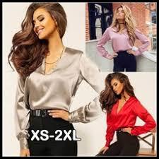 <b>New</b> Fashion <b>Women</b> Long Loose Sleeve Blouse Deep <b>V</b>-neck Shirt ...