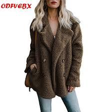 2019autumn <b>winter</b> warm clothing <b>Female</b> jacket <b>plush coat</b> artificial ...