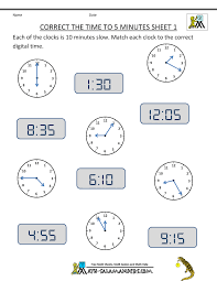 Telling Time Clock Worksheets to 5 minutes3rd grade math worksheets correct the time to 5 minutes 1