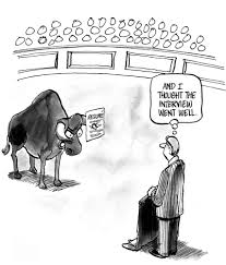 job interviews that go wrong a blue ribbon resume job seeker is rejected by bull boss