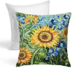 Ultra-Soft Beauty <b>Sunflower Print Square</b> Throw Pillow Insert <b>Sofa</b> ...