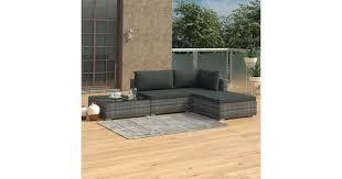 <b>4 Piece Garden Lounge</b> Set with Cushions Poly Rattan Grey - Matt ...