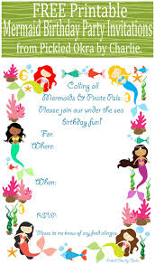 mermaid birthday invitations printable a scart com pickled okra by charlie mermaid bithday party invitations printable little mermaid invitations