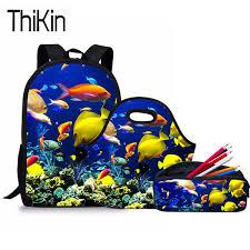 <b>THIKIN 3Pcs Set</b> Primary School Bags for Kids 3D Fish Printing ...