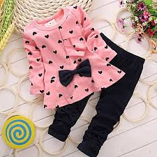 <b>Fashion 2PCS</b> Kids Set T Shirt + Pants <b>New</b> Baby Sets Heart ...