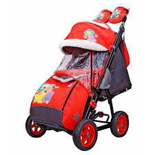 Санки-коляска Galaxy <b>City</b> 2-1 Красный, <b>Мишка</b> со звездой