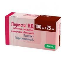 <b>Лориста НД</b>, 25 <b>мг</b>+<b>100 мг</b>, таблетки, покрытые пленочной ...