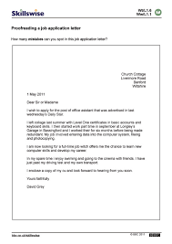 proofreading a job application letter