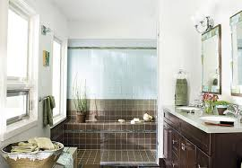bath ideas: bathroom with contemporary double vanity and brown tiles