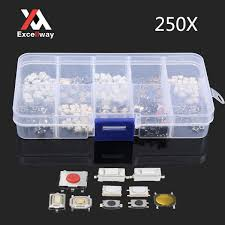 Excellway® PB01 <b>250Pcs</b> 10 Types Tactile Push Button Touch ...