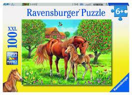 """<b>Пазл Ravensburger</b> """"<b>Лошади в</b> поле"""" XXL 100 шт коробка арт ..."""