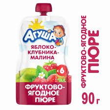 <b>Пюре фруктовое Агуша</b> яблоко/клубника/малина с 6 мес 90г п/п