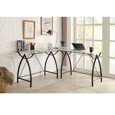 l shaped black frosted glass metal corner desk black glass top corner