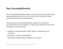 defining accomplishments  3 your accomplishments