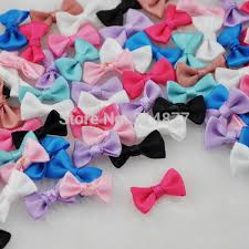<b>30 pcs</b> Small Satin <b>Ribbon Bows</b> Flower <b>Appliques</b> sew Craft Kid's ...