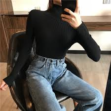 <b>2019 Autumn Winter</b> Thick <b>Sweater</b> Women Knitted Ribbed Pullover ...