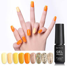 <b>LILYCUTE 5ml Orange Yellow</b> Color Gel Nail Polish Soak Off UV ...