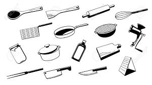 kitchen utensil: set of silhouette kitchen utensil tool stock vector
