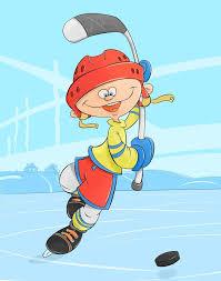 мультяшный, весёлый, человек, смешной, хоккей, лед, ребёнок ...