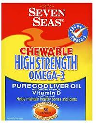 Seven Seas <b>Chewable</b> High Strength Omega-3 Pure <b>Cod Liver Oil</b> ...
