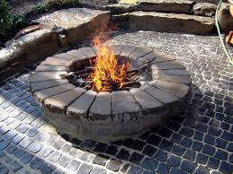 patio flagstone granite fire pit
