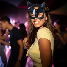 <b>Leather Cat Mask</b> Women Cat Head Mask Halloween Carnival Party ...