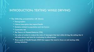 texting while driving kasha martin jamie paiva marsha thomas 3 introduction texting while driving the following presentation