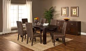 seven piece dining set: simply sydney piece dining set simply sydney piece dining set smoke brown beige fur rug brown wicker armless dining chair espresso wooden varnished table hard wood laminate floor wooden drawer storage gray stained wall white curtain window treatment