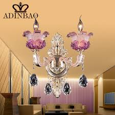 wall lights sconce lighting living room fancy pink purple murano glass wall lamp with k crystal pendent living