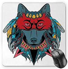 BGLKCS Tribal Mouse Pad, Ethnic Warrior Wolf ... - Amazon.com