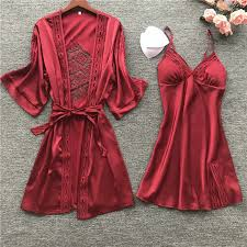 <b>BZEL</b> 2Pcs Lingerie Women Silk <b>Pajamas</b> Sexy Lace Robe Sets ...