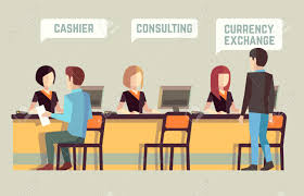 bank interior cashier consulting currency exchange banking bank interior cashier consulting currency exchange banking vector concept bank finance
