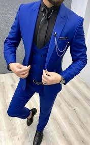 Get this royal blue <b>three piece</b> suit custom made for you by Giorgenti ...