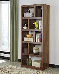 lobink contemporary design warm brown finish home office bookcase book case brown finish home office