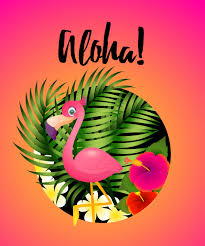 Free Vector | Aloha lettering with tropical plants and <b>flamingo</b> in <b>circle</b>