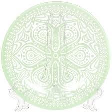 <b>Тарелка десертная</b> стеклянная, 195 мм, <b>Boho</b> зеленая ...