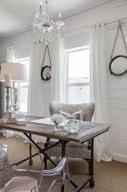 ghost chair at desk home office shabby chic style with round mirrors round mirrors chic small white home